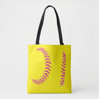 Bolsa Tote Pontos cor-de-rosa do softball do brilho