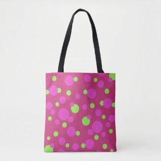 Bolsa Tote Pontos cor-de-rosa e verdes na magenta -