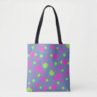 Bolsa Tote Pontos cor-de-rosa e verdes no azul -