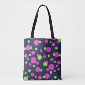 Bolsa Tote Pontos cor-de-rosa e verdes no azul da meia-noite
