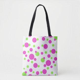 Bolsa Tote Pontos cor-de-rosa e verdes no branco -