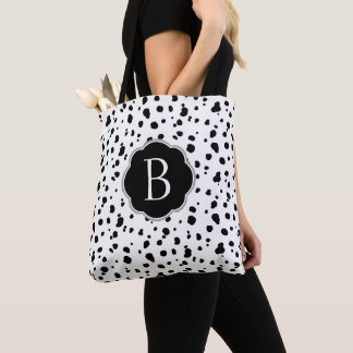 Bolsa Tote Pontos Dalmatian pretos & brancos modernos