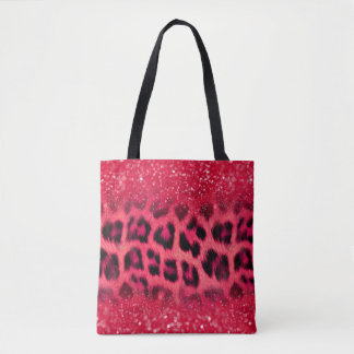 Bolsa Tote Pontos do leopardo do brilho do rosa do falso para