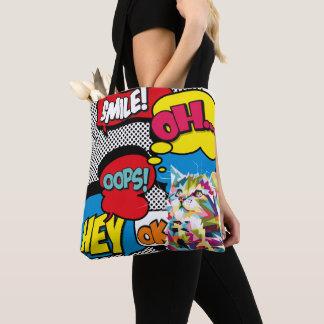 Bolsa Tote Pop art icónico da esperança cómica colorida do