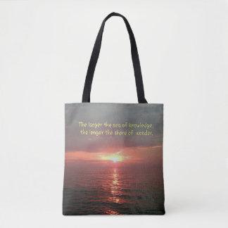Bolsa Tote Por do sol bonito do oceano com citações da