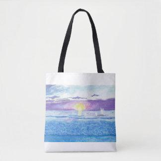 Bolsa Tote Por do sol do oceano com o saco da aguarela das