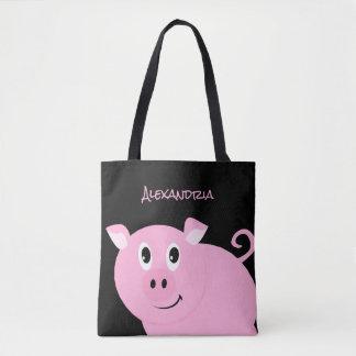 Bolsa Tote Porco cor-de-rosa adorável leitão pequeno doce