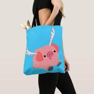 Bolsa Tote Porco voado bonito dos desenhos animados