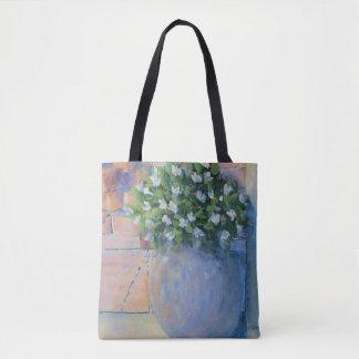 Bolsa Tote Pote de flor azul