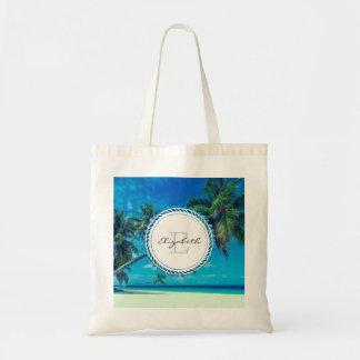 Bolsa Tote Praia branca de Sandy com monograma tropical das