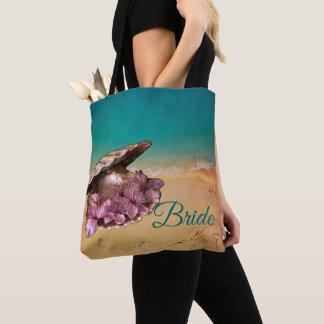 Bolsa Tote Praia Shell com as flores na praia (seu texto)
