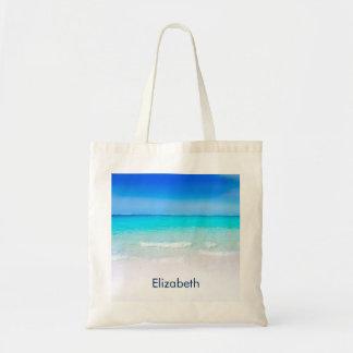 Bolsa Tote Praia tropical com um costume do mar de turquesa