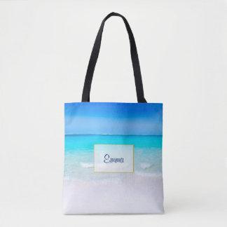 Bolsa Tote Praia tropical com um mar de turquesa