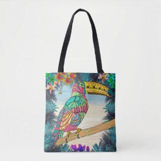 Bolsa Tote Praia tropical do malva da cerceta do pássaro