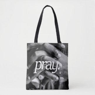 Bolsa Tote pray. Impressão lateral do design 2 religiosos