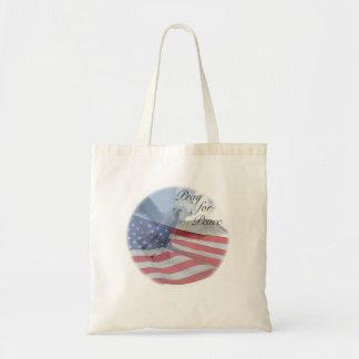 Bolsa Tote PRAY PARA a pomba da PAZ e a sacola da bandeira