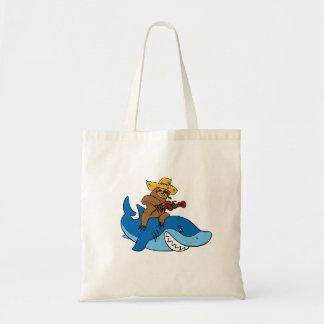 Bolsa Tote Preguiça do aldeão montada no tubarão