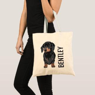 Bolsa Tote Presente bonito personalizado do Doggy do nome de