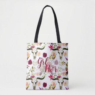 Bolsa Tote Presente floral gostoso de Borgonha Boho GRL PWR