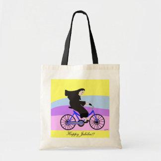 """Funny Catholic Nun Jubilee Gifts """"Nun on a Bike"""""""