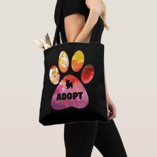 Bolsa Tote Presentes do amante do cão. Adote. Pata dos cães,
