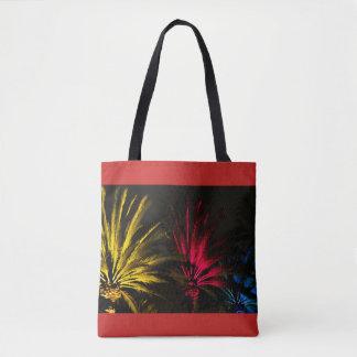 Bolsa Tote Preto amarelo vermelho das palmeiras coloridas do
