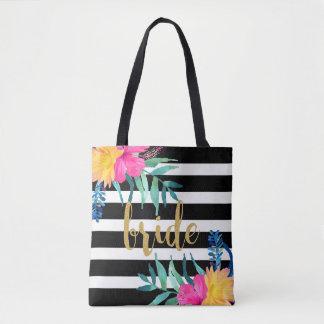 Bolsa Tote Preto & branco listra o buquê tropical das flores