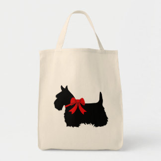 Bolsa Tote Preto de Terrier do Scottish, trança cletic,