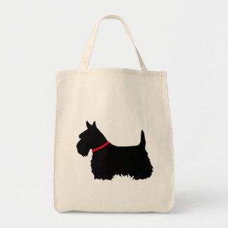 Bolsa Tote Preto de Terrier do Scottish, trança cletic, colar