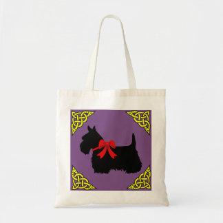 Bolsa Tote Preto de Terrier do Scottish, trança cletic do