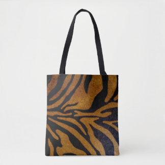 Bolsa Tote Preto & design do teste padrão do tigre de Brown