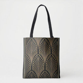 Bolsa Tote Preto do art deco/bolsa do fã folha de ouro