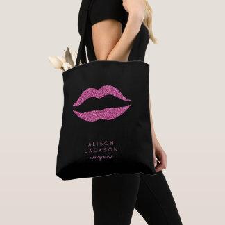 Bolsa Tote Preto dos lábios do rosa quente do nome do salão