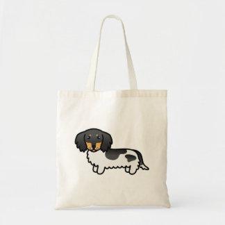Bolsa Tote Preto e cão longo do Dachshund do casaco do animal