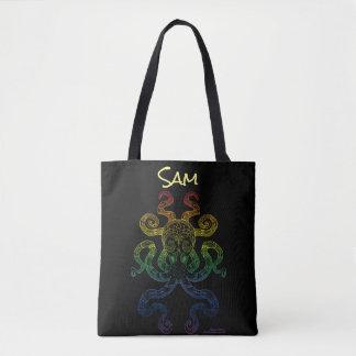Bolsa Tote Preto floral do orgulho do arco-íris da arte