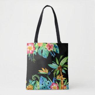 Bolsa Tote Preto floral tropical da aguarela