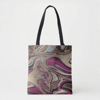 Bolsa Tote Preto marmoreado abstrato de turquesa do rosa do