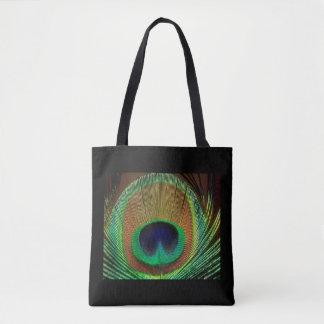 Bolsa Tote Preto & sacola do design da pena do pavão