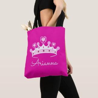 Bolsa Tote Princesa Coroa Costume Personalized do rosa quente