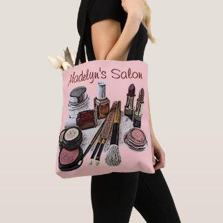 Bolsa Tote Produtos de composição do salão de beleza do rosa