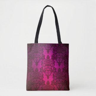 Bolsa Tote Profundamente - damasco floral do rico cor-de-rosa