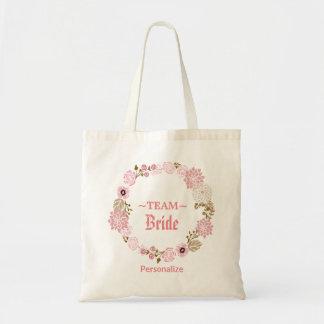 Bolsa Tote Profundamente - grinalda floral cor-de-rosa do