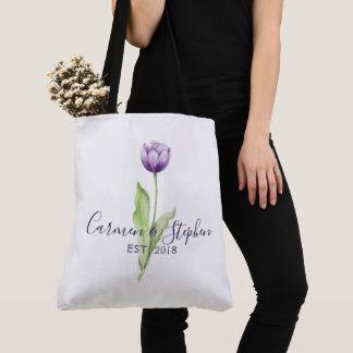 Bolsa Tote Profundo minimalista - casamento da tulipa do roxo