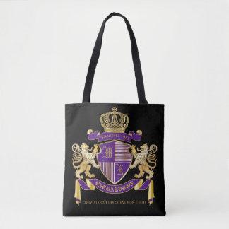 Bolsa Tote Protetor dourado do leão do emblema do monograma