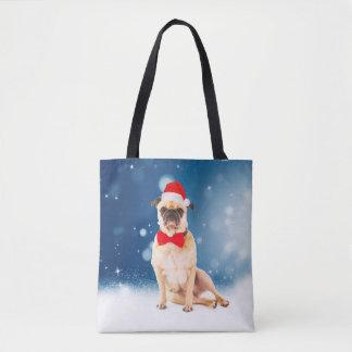 Bolsa Tote Pug com o chapéu do papai noel do Natal