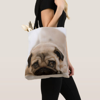 Bolsa Tote Pug da fêmea de Tan