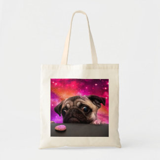 Bolsa Tote pug do espaço - comida do pug - biscoito do pug