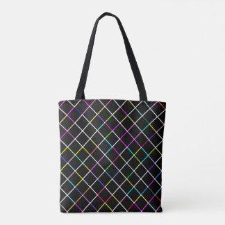 Bolsa Tote Quadrado multicolorido teste padrão alinhado