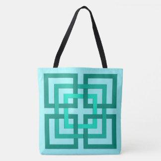 Bolsa Tote Quadrados, Aqua e turquesa geométricos modernos