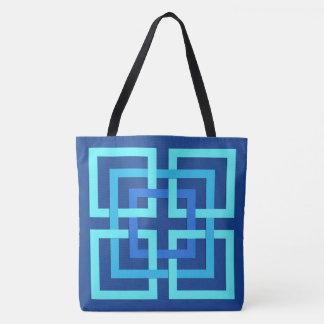 Bolsa Tote Quadrados, cobalto e azul-céu geométricos modernos